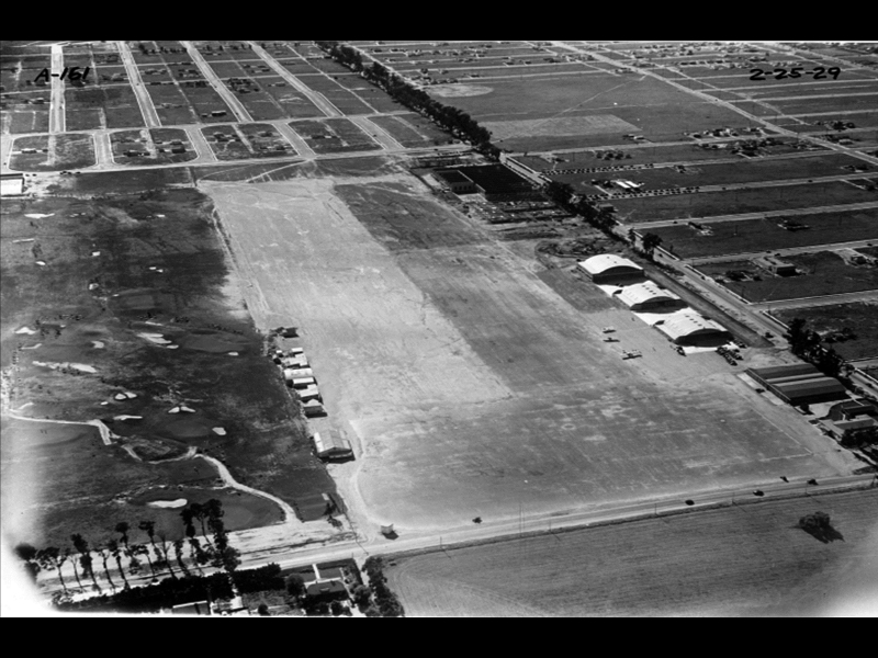 View of Clover Field, 1929. The Douglas Aircraft plant can be seen on the right