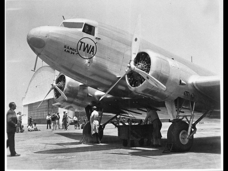 Douglas Aircraft Company DC-1 (TWA U.S. Mail) first flight on July 1, 1933 from Clover Field Airport