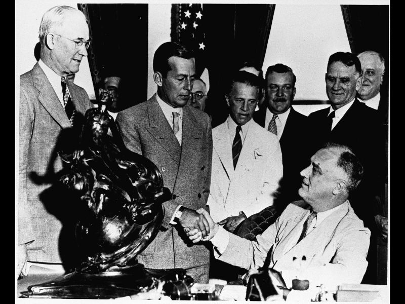 President Franklin Delano Roosevelt (FDR) presents the Robert J. Collier trophy to Donald W. Douglas