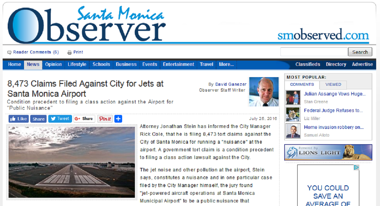 Article 8473 Claims Filed Against City of Jets at Santa Monica Airport