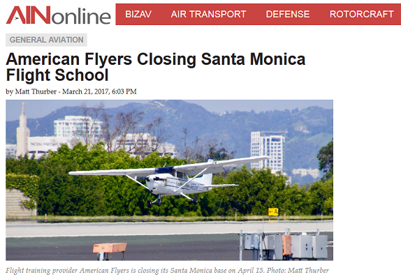 Article American Flyers Closing Santa Monica Flight School