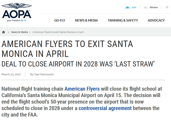 Article American Flyers to Exit Santa Monica in April