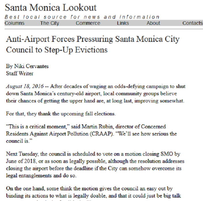 Article Anti-Airport Forces Pressuring Santa Monica City Council to Step-Up Evictions