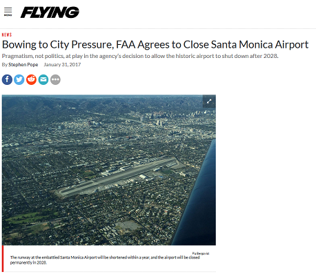 Article Bowing to City Pressure FAA Agrees to Close Santa Monica Airport