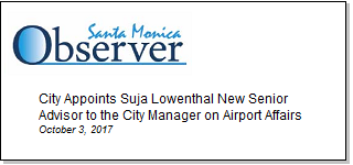 Article City Appoints Suja Lowenthal New Senior Advisor to the City Manager on Airport Affairs