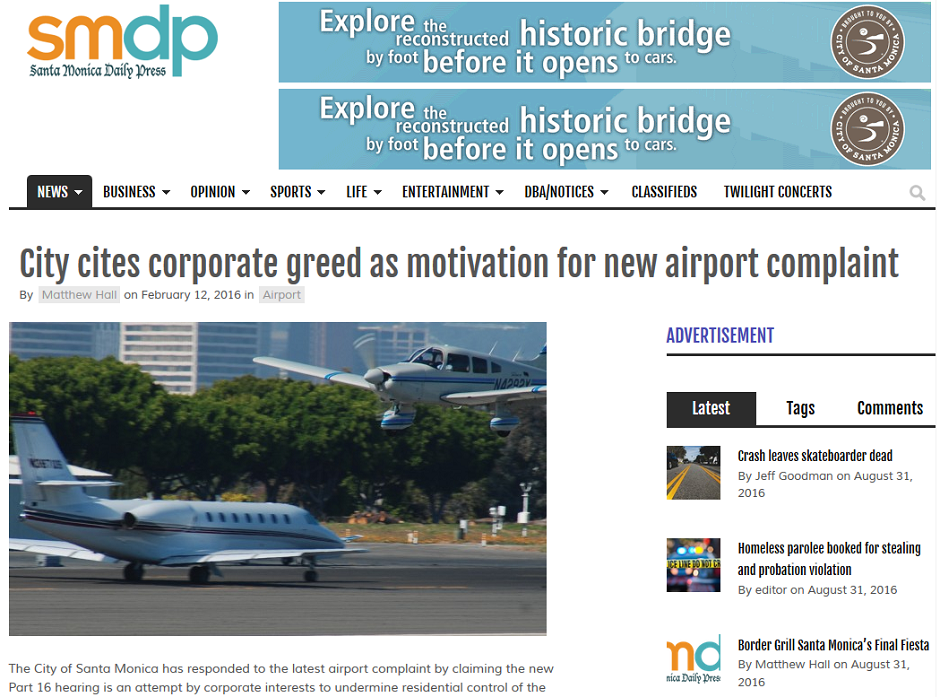 Article Airport Cites Corporate Greed as Motivation for New Airport Complaint