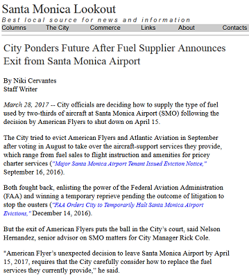 Article City Ponders Future After Fuel Supplier Announces Exit form Santa Monica Airport