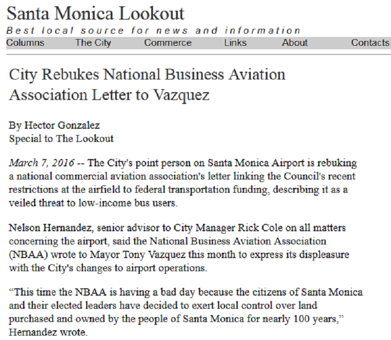Article City of Rebukes National Business Aviation Association Letter to Vasquez