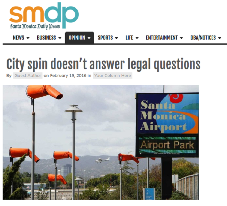 Article City Spin Doesn't Answer Legal Questions