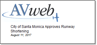 Article City of Santa Monica Approves Runway Shortening