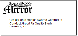 Article City of Santa Monica Awards Contract to Conduct Airport Air Quality Study