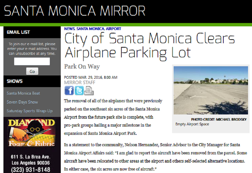 Article City of Santa Monica Clears Airplane Parking Lot