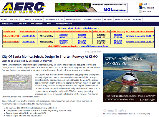 Article City of Santa Monica Selects Design to Shorten Runway at KSMO