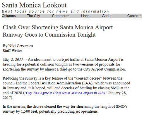 Article Clash Over Shortening Santa Monica Airport Runway Goes to Commission Tonight