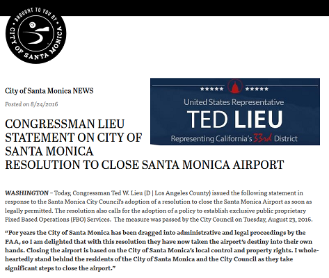Article Congressman Lieu Statement on City of Santa Monica Resolution to Close Santa Monica Airport