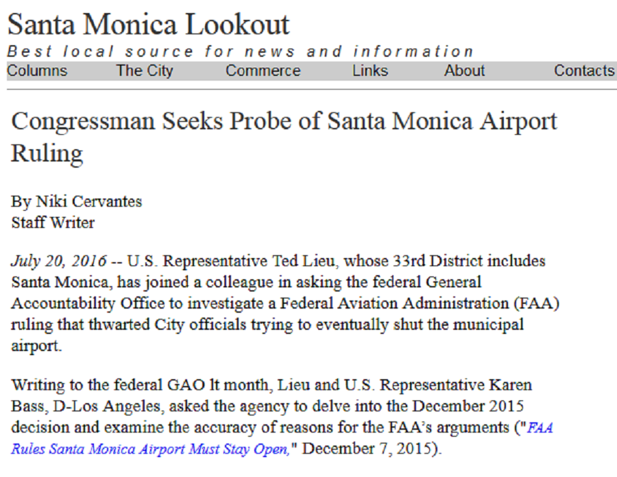 Article Congressman Seeks Probe of Santa Monica Airport Ruling