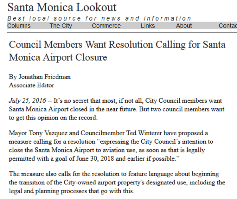 Article Council Members Want Resolution Calling for Santa Monica Airport Closure