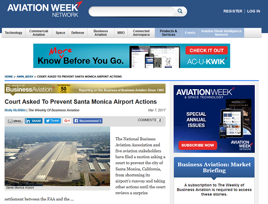 Article Court Asked to Prevent Santa Monica Airport Actions