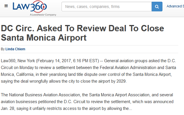 Article DC Circ Asked to Review Deal to Close Santa Monica Airport