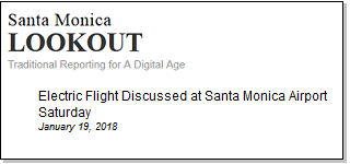 Article Electric Flight Discussed at Santa Monica Airport Saturday