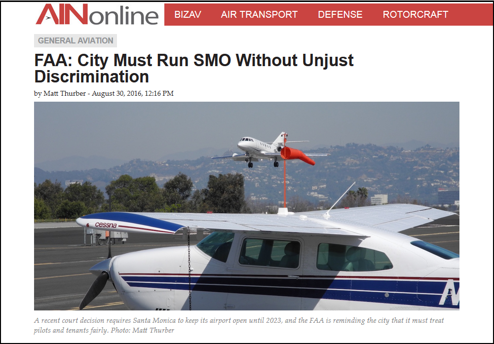 Article FAA City Must Run SMO Without Unjust Discrimination