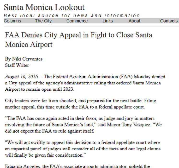 Article FAA Denies City Appeal in Fight to Close Santa Monica Airport
