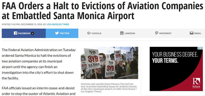 Article FAA Orders a Halt to Evictions of Aviation Companies at Embattled Santa Monica Airport - KTLA