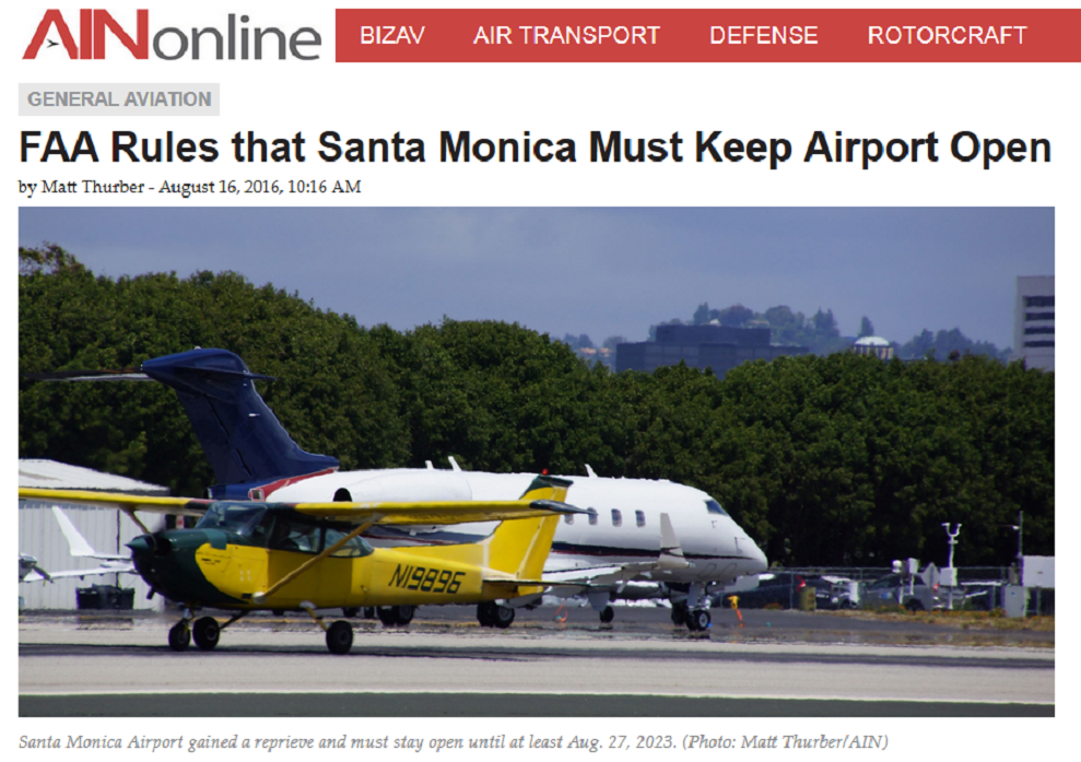 Article FAA Rules that Santa Monica Must Keep Airport Open
