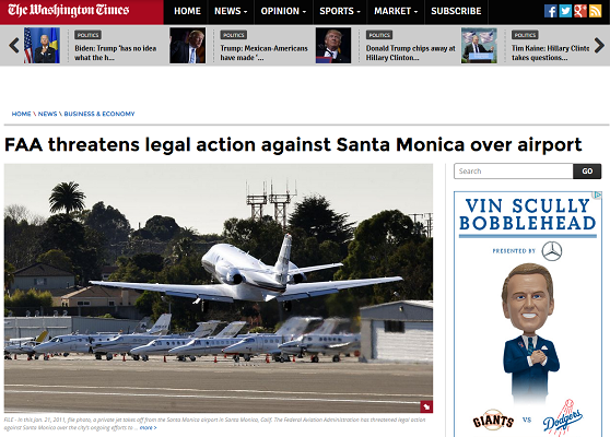 Article FAA threatens legal action against Santa Monica Airport