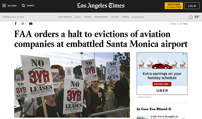 Article FAA orders a halt to evictions of aviation companies at embattled Santa Monica Airport