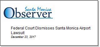 Article Federal Court Dismisses Santa Monica Airport Lawsuit