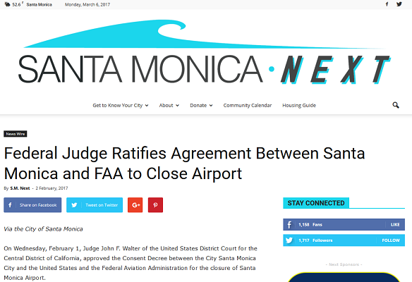 Article Federal Judge Ratifies Agreement between Santa Monica and FAA to Close Airport