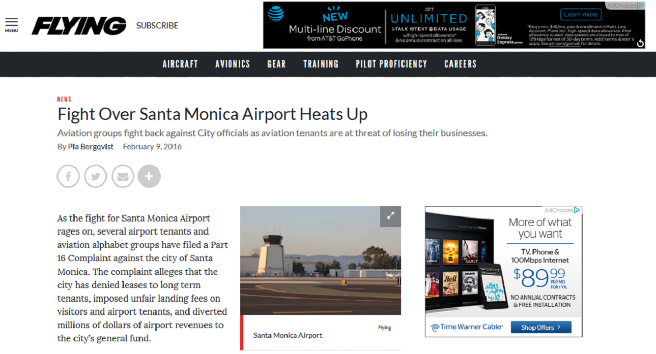 Article Fight Over Santa Monica Airport Heats Up