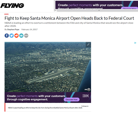 Article Fight to Keep Santa Monica Airport Open Heads Back to Federal Court