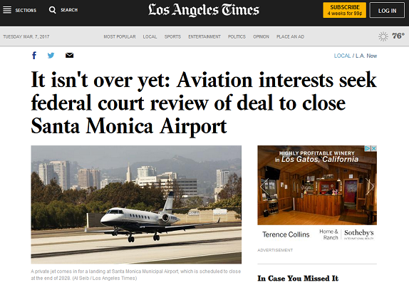 Article It Isn't Over Yet Aviation Interests Seek Federal Court Review of Deal to Close Santa Monica Airport