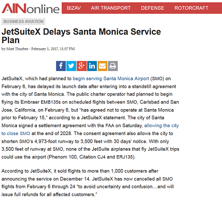 Article JetSuiteX Delays Santa Monica Service Plan