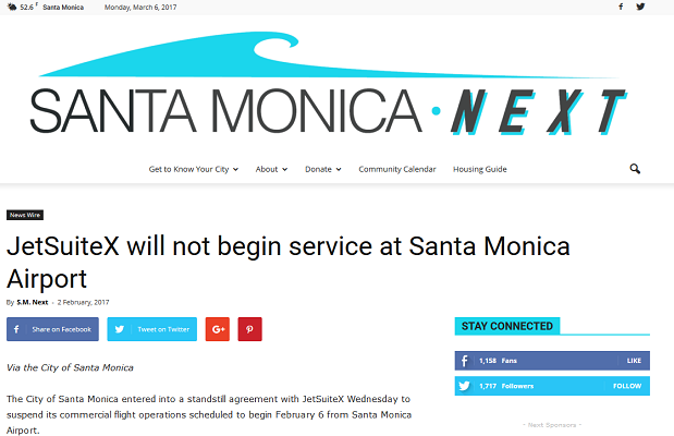 Article JetSuiteX will not begin service at Santa Monica Airport