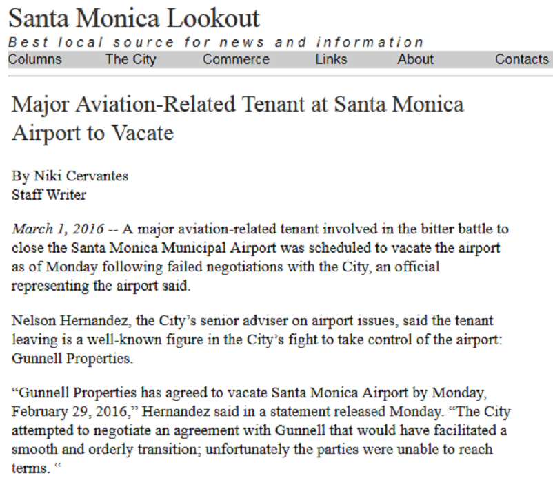Article Major Aviation-Related Tenant at Santa Monica Airport to Vacate
