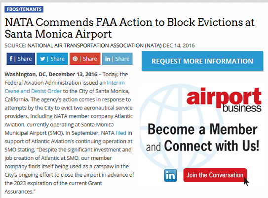 Article NATA Commends FAA Action to Block Evictions at Santa Monica Airport