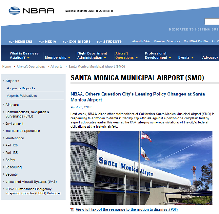 Article NBAA Others Question Citys Leasing Policy Changes at Santa Monica Airport