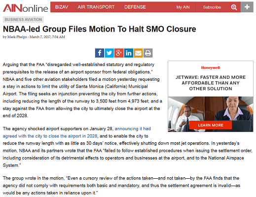 Article NBAA-led Group Files Motion to Halt SMO Closure