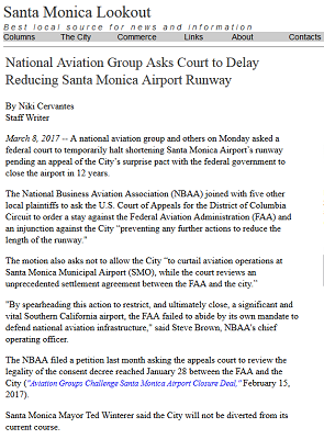 Article National Aviation Group Asks Court to Delay Reducing Santa Monica Airport Runway