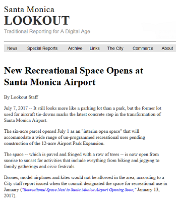 Article New Recreational Space Opens at Santa Monica Airport