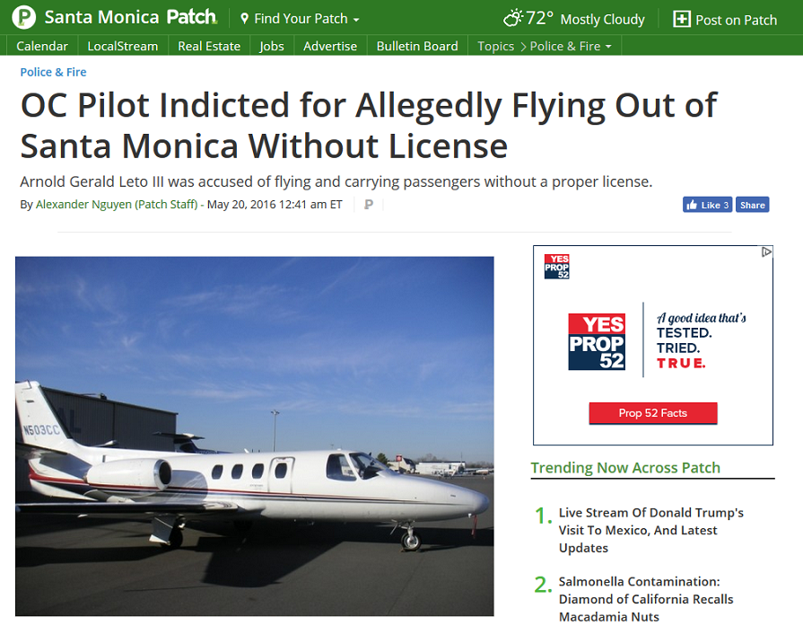 Article OC Pilot Indicated for Flying Out of Santa Monica Without License