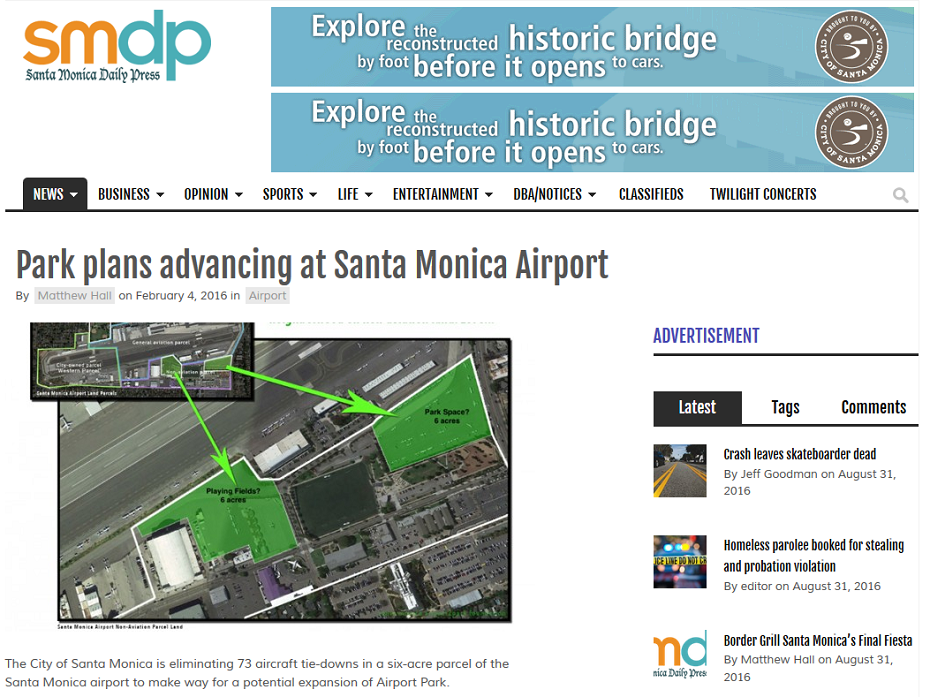 Article Park Plans Advancing at Santa Monica Airport