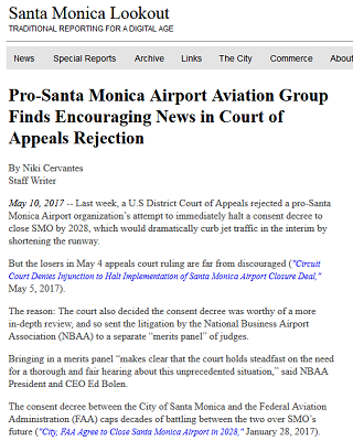 Article Pro-Santa Monica Airport Aviation Group Finds Encouraging News in Court of Appeals Rejection