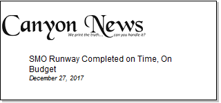Article SMO Runway Completed on Time, On Budget