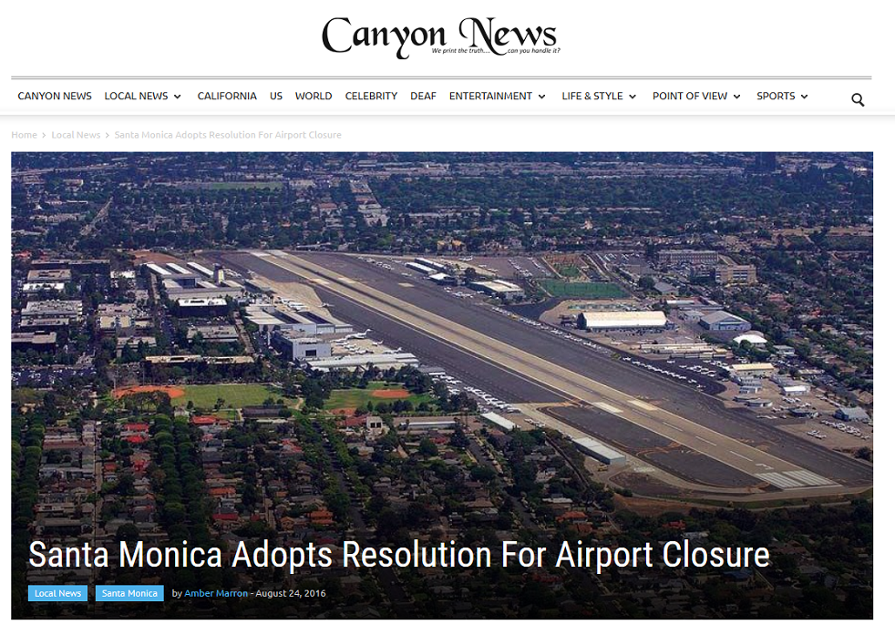 Article Santa Monica Adopts Resolution for Airport Closure