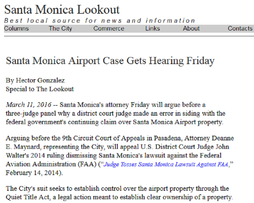 Article Santa Monica Airport Case Gets Hearing Friday