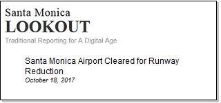 Article Santa Monica Airport Cleared for Runway Reduction